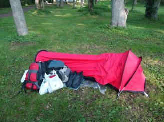 Camping libre del Lago Onuma, Hokkaido, Japón.