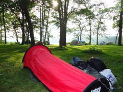 Mi tienda en el camping libre del Lago Onuma, Hokkaido, Japón.