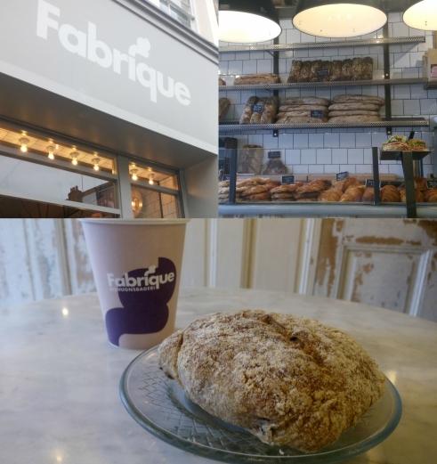 Bollito de pan con nueces artesanal y un café delicioso en la panadería Fabrique de notting Hill en Portobello Road, Londres.